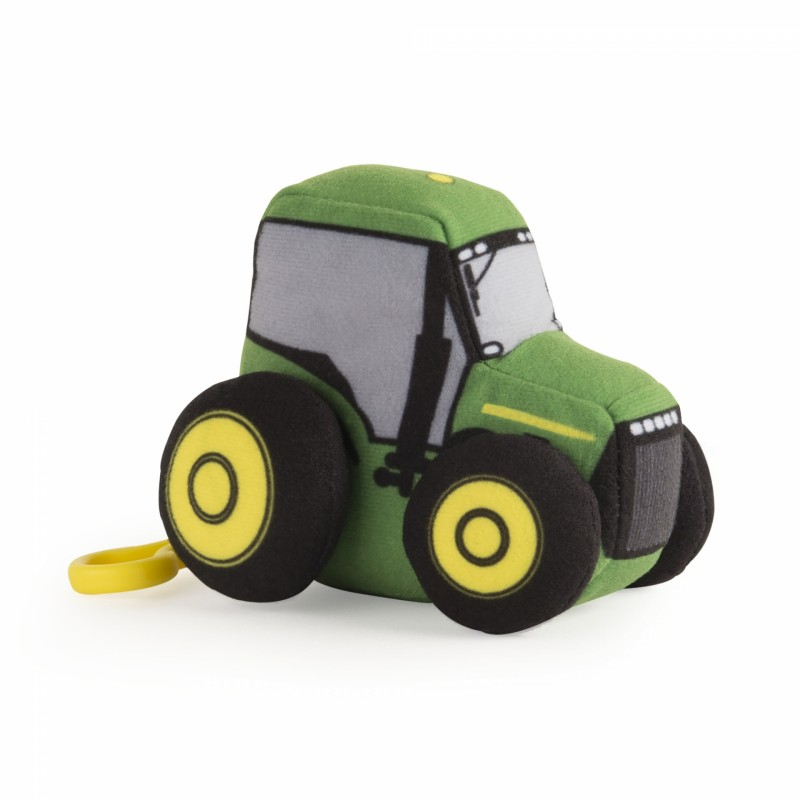 10cm Plush JD Vehicles Clip On Tractor