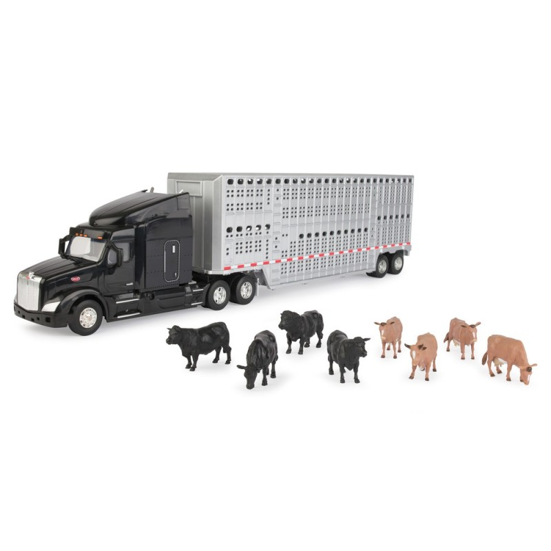 1:32 Peterbilt 597 Semi w/ Livestock Trailer & Cattle