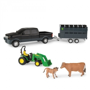 1:32 Black Pick Up & Livestock Trailer